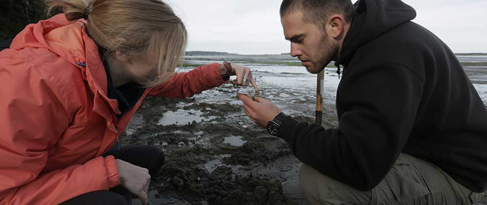 Student looking at a sample along the beach near the Oregon Institute of Marine Biology